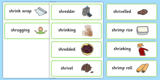 Two Syllable SHR Word Cards - speech sounds, phonology, articulation, speech therapy, cluster reduction