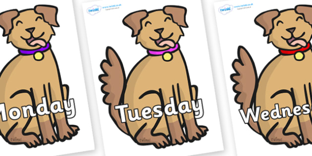 Days of the Week on Dog - Days of the Week, Weeks poster, week, display, poster, frieze, Days, Day, Monday, Tuesday, Wednesday, Thursday, Friday, Saturday, Sunday