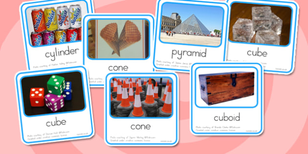 3D Shapes Real Life Objects Cards - australia, 3d, shape, objects