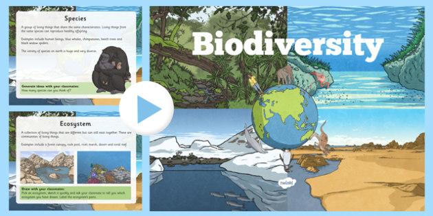 Biodiversity Information PowerPoint - biodiversity, powerpoint, science, geography, greenschools, habitats, ecosystems, species, environment
