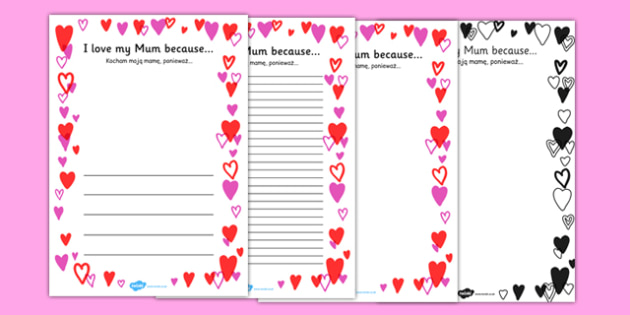 Mother's Day I Love My Mum Because Full Page Borders Polish Translation - polish, page border, border, frame, writing frame, writing template, mothers day, mothers day page borders, i love my mum borders, i love my mum writing frame, mothers day writ