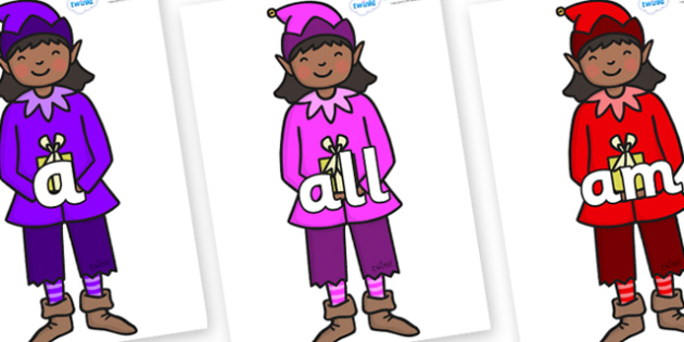 Foundation Stage 2 Keywords on Girl Elves (Multicolour) - FS2, CLL, keywords, Communication language and literacy,  Display, Key words, high frequency words, foundation stage literacy, DfES Letters and Sounds, Letters and Sounds, spelling