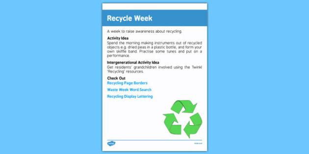 Elderly Care Calendar Planning June 2016 Recycle Week - Elderly Care, Calendar Planning, Care Homes, Activity Co-ordinators, Support, June 2016
