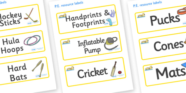 Gosling Themed Editable PE Resource Labels - Themed PE label, PE equipment, PE, physical education, PE cupboard, PE, physical development, quoits, cones, bats, balls, Resource Label, Editable Labels, KS1 Labels, Foundation Labels, Foundation Stage La