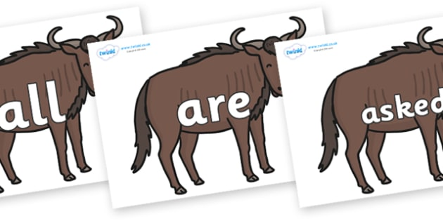 Tricky Words on Wildebeests - Tricky words, DfES Letters and Sounds, Letters and sounds, display, words