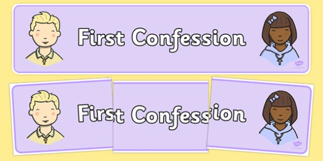 First Confession Display Banner - Penance, Confession, prayers, posters, religion, ireland, republic, roi, irish, confess