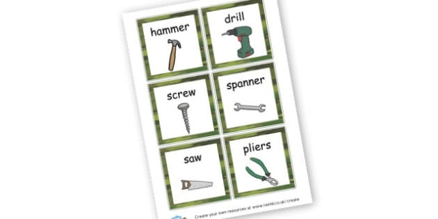 Tools Word Cards - Role Play Primary Resources, roleplay, role-play, area, masks