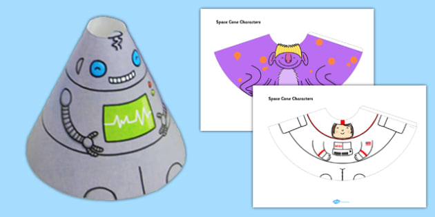 Space Cone Characters - space, cone, character, craft, paper