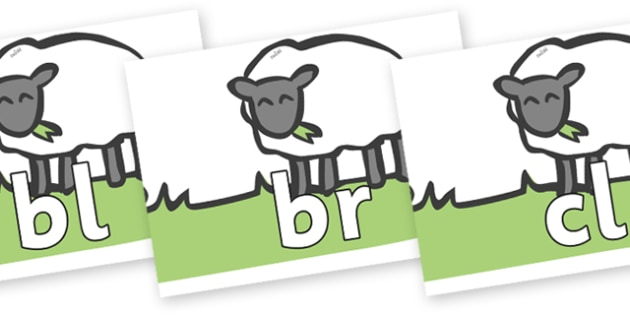 Initial Letter Blends on Sheep to Support Teaching on Pig in the Pond - Initial Letters, initial letter, letter blend, letter blends, consonant, consonants, digraph, trigraph, literacy, alphabet, letters, foundation stage literacy
