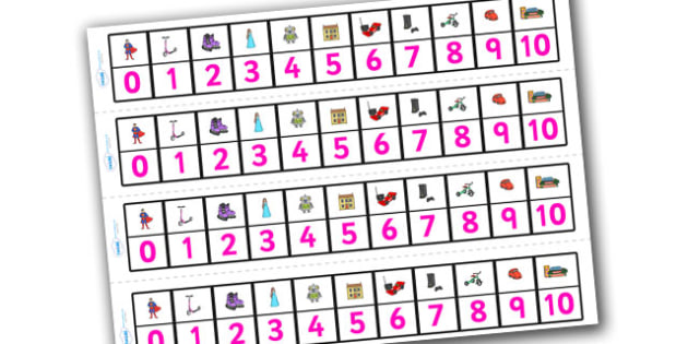 Toys Number Track (1-10) - Maths, Math, number track, toys, numbertrack, Counting, Numberline, Number line, Counting on, Counting back, robot, doll, skateboard, games console, dice, jigsaw, games, dominos, marbles, pogo, doll