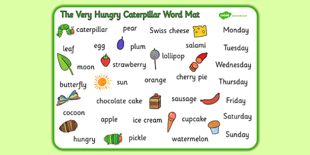 Word Mat to Support Teaching on The Very Hungry Caterpillar - The Very Hungry Caterpillar,  Eric Carle, resources, Hungry Caterpillar, life cycle of a butterfly, days of the week, food, fruit, story, story book, story book resources, story sequencing