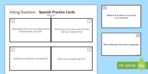 General Conversation Free Time Activities Question Double Sided Cards Spanish English