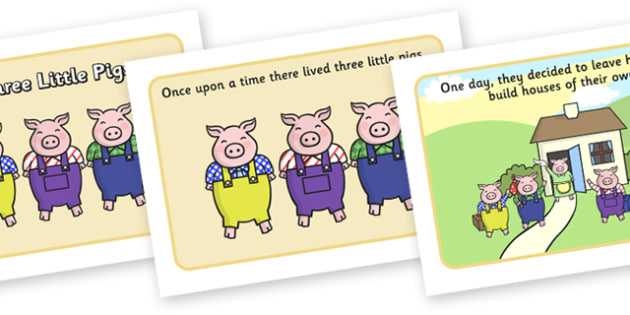 The Three Little Pigs Story - Three little pigs, traditional tales, tale, fairy tale, pigs, wolf, straw house, wood house, brick house, huff and puff, chinny chin chin