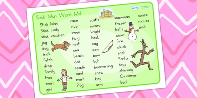 Word Mat Text to Support Teaching on Stick Man - stick man, word mat, text, keywords
