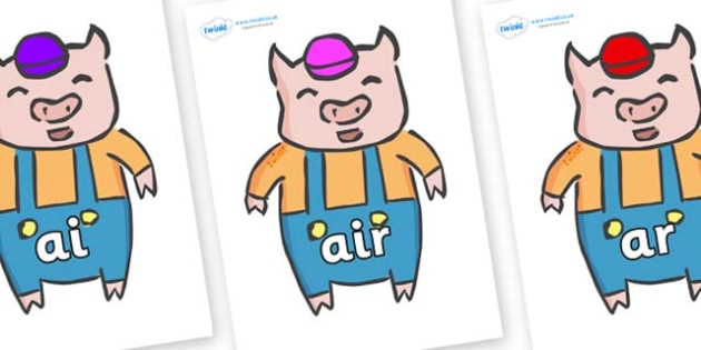 Phase 3 Phonemes on Little Pig - Phonemes, phoneme, Phase 3, Phase three, Foundation, Literacy, Letters and Sounds, DfES, display