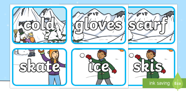 Winter Scene Topic Word Flashcards