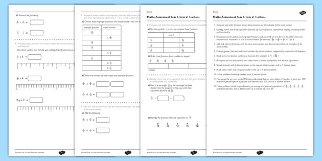 Year 5 Maths Assessment: Fractions Term 2 - year 5, maths, assessment, number, fractions