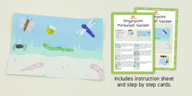Fingerprint Minibeast Garden Craft Instructions - craft, garden