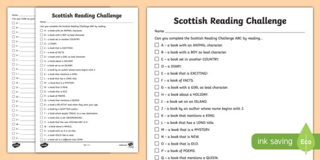 Scottish Reading Challenge ABC Activity Sheet-Scottish, worksheet