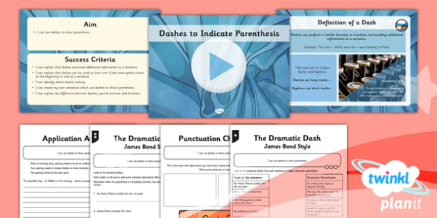 Planit Y5 SPaG Dashes for Parenthesis - GPS, spelling, grammar, punctuation, commas, brackets