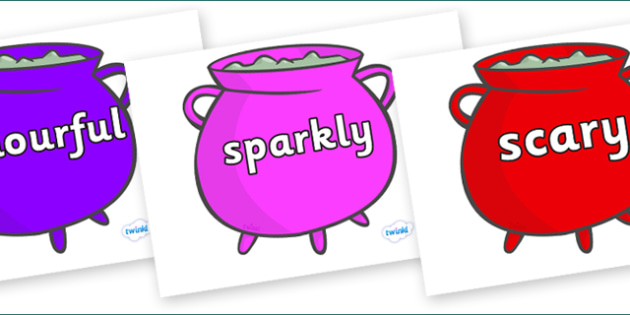 Wow Words on Cauldrons (Multicolour) - Wow words, adjectives, VCOP, describing, Wow, display, poster, wow display, tasty, scary, ugly, beautiful, colourful sharp, bouncy