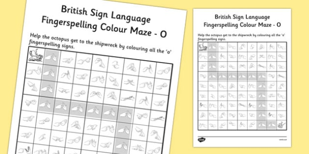 British Sign Language Fingerspelling Colour Maze O - colour, maze