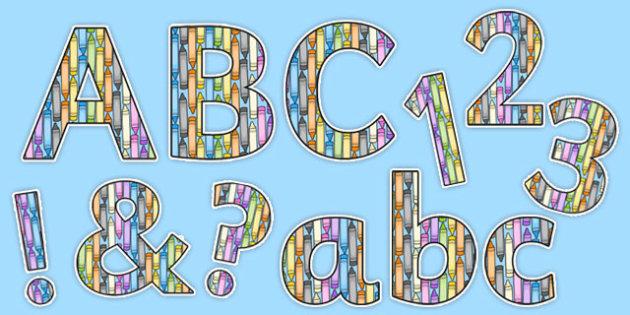 Vertical Crayons Display Lettering Pack - crayon, display lettering, display, lettering, letters, pack, numbers