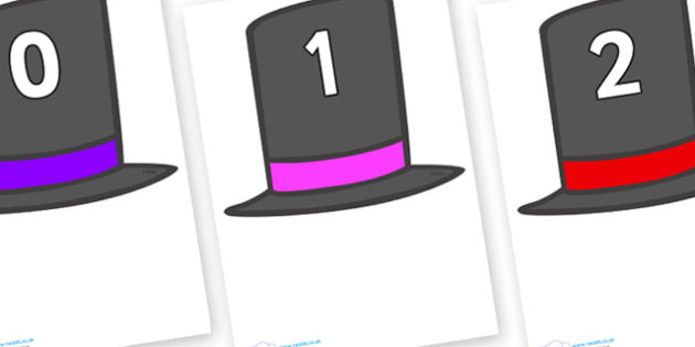 Numbers 0-50 on Top Hats - 0-50, foundation stage numeracy, Number recognition, Number flashcards, counting, number frieze, Display numbers, number posters