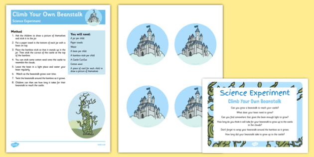 EYFS Climb Your Own Beanstalk Science Experiment and Prompt Card Pack - Jack and The Beanstalk, Science