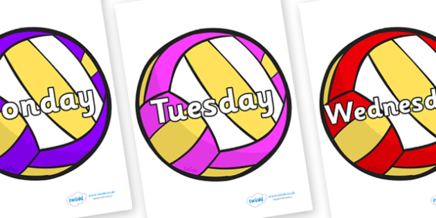 Days of the Week on Volleyballs - Days of the Week, Weeks poster, week, display, poster, frieze, Days, Day, Monday, Tuesday, Wednesday, Thursday, Friday, Saturday, Sunday