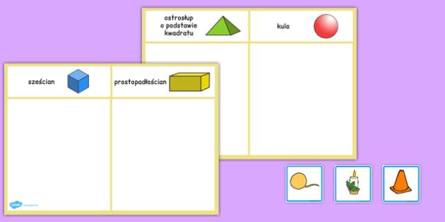 Sortowanie kart Bryły obrotowe po polsku - matematyka, geometria