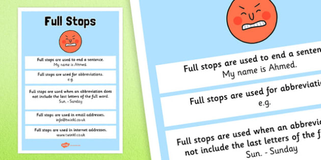 Full Stops Punctuation Poster - full stops, punctuation, literacy
