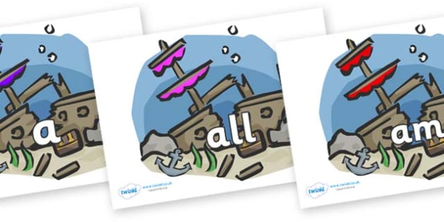 Foundation Stage 2 Keywords on Ship Wrecks - FS2, CLL, keywords, Communication language and literacy,  Display, Key words, high frequency words, foundation stage literacy, DfES Letters and Sounds, Letters and Sounds, spelling