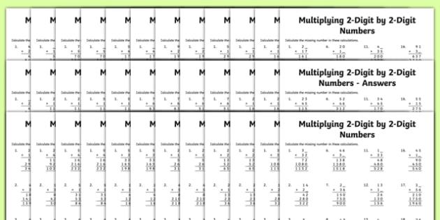 Multiplication 2-Digit x 2-Digit Missing Numbers Differentiated Activity Sheet Pack, worksheet