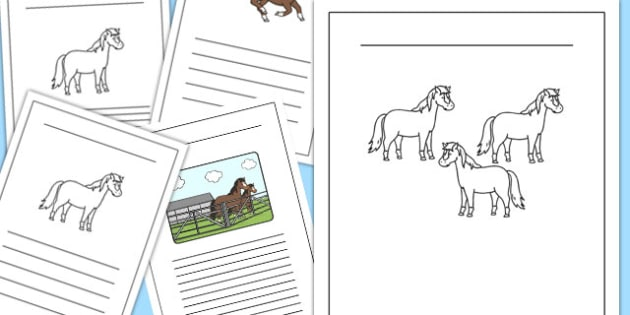 Horses and Ponies Writing Frames Lined - horses, ponies, writing frames