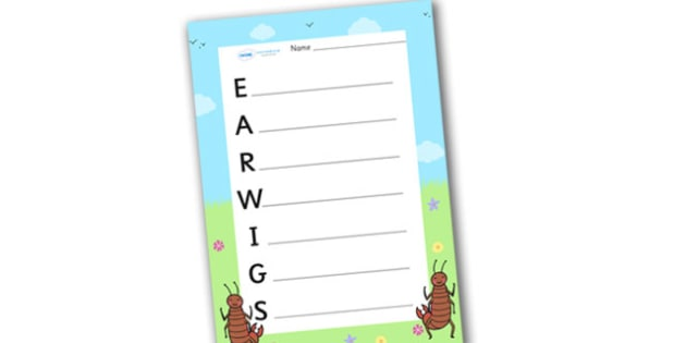 Earwigs Acrostic Poem - acrostic poems, acrostic poem, earwigs, earwig, earwig acrostic poem, earwig acrostic poem templates, earwig acrostic poem writing frame, minibeast, ear wig poem template, acrostic, poem, poetry, literacy, writing activity, ac