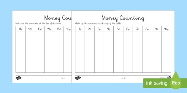 Euros Counting And Sorting Activity Sheet Money Europe