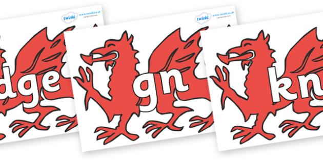 Silent Letters on Welsh Dragons - Silent Letters, silent letter, letter blend, consonant, consonants, digraph, trigraph, A-Z letters, literacy, alphabet, letters, alternative sounds