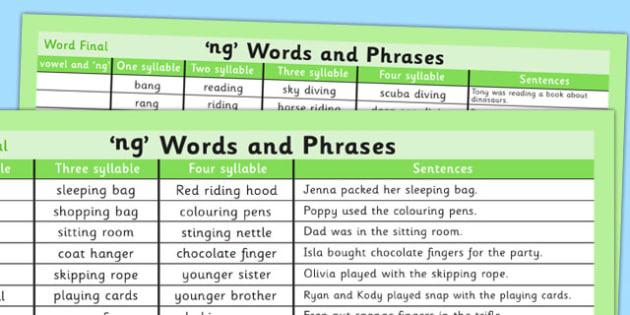 Ng Word List - ng, word list, word, list, syllables, sentences