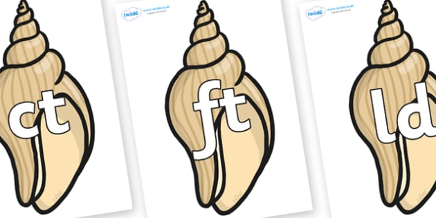 Final Letter Blends on Conch Shells - Final Letters, final letter, letter blend, letter blends, consonant, consonants, digraph, trigraph, literacy, alphabet, letters, foundation stage literacy
