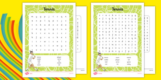 The Olympics Tennis Differentiated Word Search - the olympics, rio olympics, 2016 olympics, rio 2016, tennis, word search