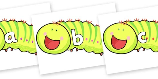 Phase 2 Phonemes on Crunching Munching Caterpillar to Support Teaching on The Crunching Munching Caterpillar - Phonemes, phoneme, Phase 2, Phase two, Foundation, Literacy, Letters and Sounds, DfES, display