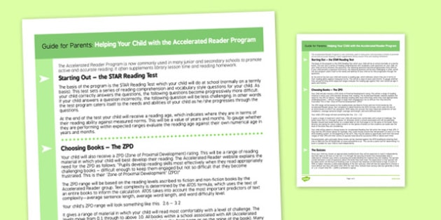 Guide for Parents to Support the Teaching on Accelerated Reader Program - English, KS 3, KS 2, Accelerated Reader, Bookmarks, Reading, Literature, Prose, Children's Reads, Parents, Guides for parents