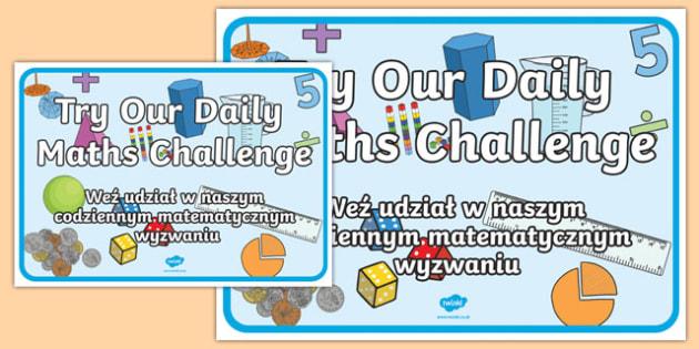 Try Our Daily Maths Challenge Display Poster Polish Translation-Polish-translation
