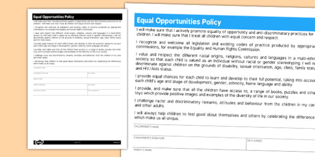 Equal Opportunities Policy for Childminders - childminder, policy