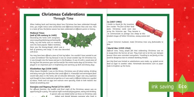 Christmas Celebrations Through Time Differentiated Fact File - Christmas, Nativity, Jesus, xmas, Xmas, Father Christmas, Santa, history of Christmas.