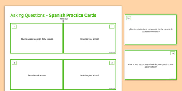 General Conversation Life at School College Question Double Sided Cards Spanish English