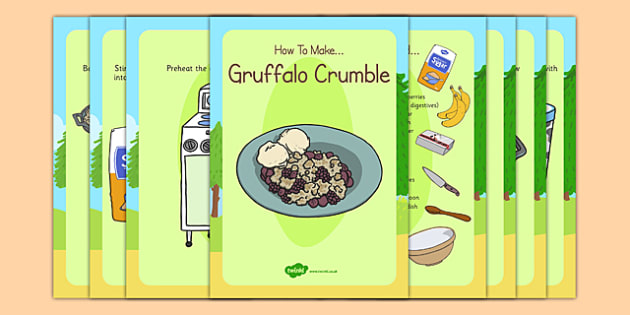 Gruffalo Crumble Recipe Cards - gruffalo, crumble, recipe, cards