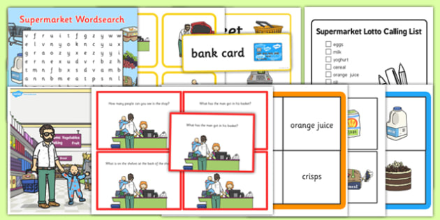 Supermarket Vocabulary and Comprehension Pack - supermarket