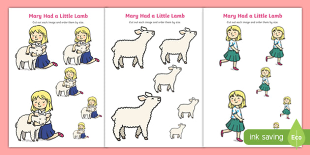 Mary Had a Little Lamb Size Ordering - mary had a little lamb, nursery rhyme, size ordering